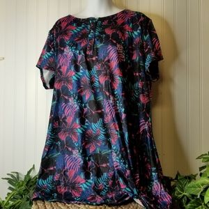 NWT Floral Short Sleeve Women's Tunic Size 1X